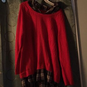 Sweater with plaid collar and bottom material.